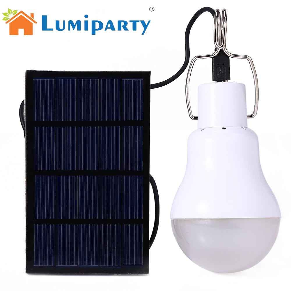 LumiParty 15 watt Solar Powered LED Birne Lampe Outdoor Solar Energie Camping lampe led beleuchtung solar panel licht Solar Camping licht