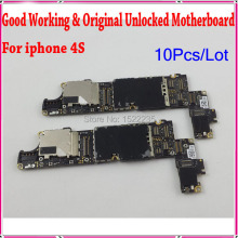 10Pcs/Lot For Apple iphone motherboard 4S,Original & Unlocked For iphone 4s Mother Board,Mainboard with Chips,100% Test Freeship