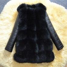 Зимнее Новое высококачественное пальто из искусственного меха с рукавами из ПУ, плотное теплое Черное пальто для женщин, пальто из искусственного лисьего меха, верхняя одежда серого цвета LJLS115