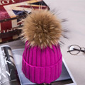 Fashion Women's Winter Knitted Fur Beanie Hats With 18cm Real Raccoon Fur Pompoms Caps Ear Protect Causal Fur Hats For Women 011