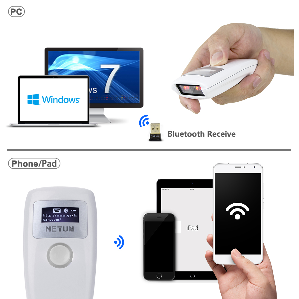 Z3S Drahtlose Bluetooth CCD Barcode Scanner UND Tragbare Z2S Bluetooth 2D QR pdf417 Bar Code Reader für Android ios iphone NETUM