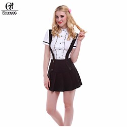 School-Girls-Cotton-White-Blouse-Short-Sleeve-Shirts-With-Pleated-Black-Suspender-Women-Skirts