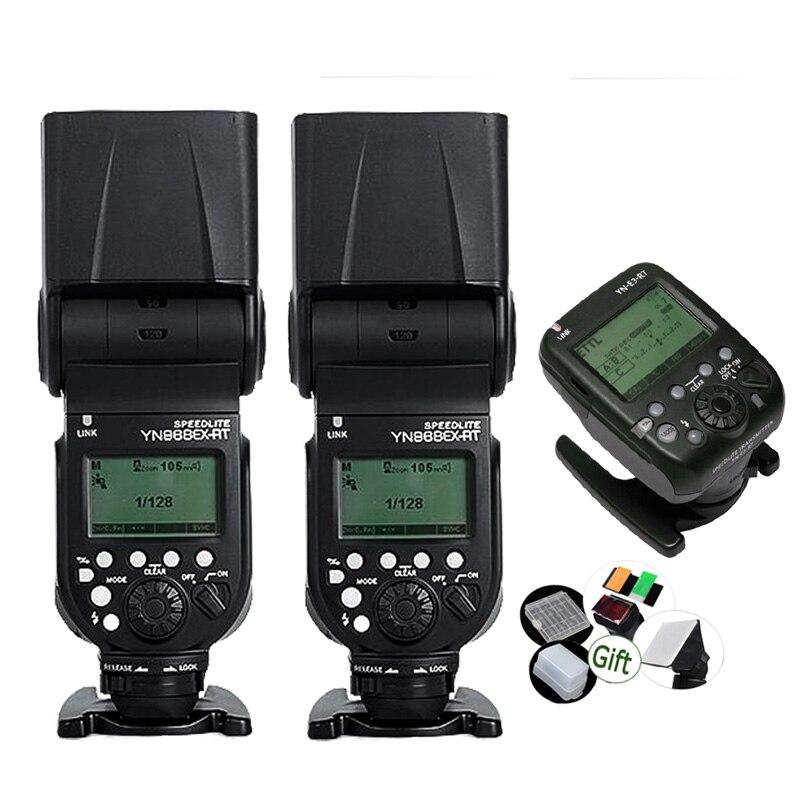2x YONGNUO Speedlite YN968EX RT w Led Light YN E3 RT Transmitter GN60 TTL HSS 1