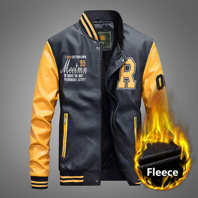 1a2699e89 US $8.99 35% OFF|Men's Casual Slim Embroidery Baseball Jackets Pu Leather  Coats Military Luxury Fleece Pilot Motorcycle Faux Leather Jackets Men-in  ...