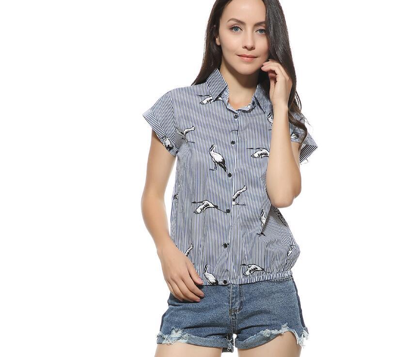 birds print loose blue striped shirts turn down collar short sleeve blouses summer fashion tops blusas