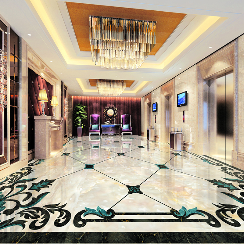 European Style Imitation Marble Pattern Living Room Floor Sticker Mural Wallpaper High Quality Custom 3D Floor Mural De Parede