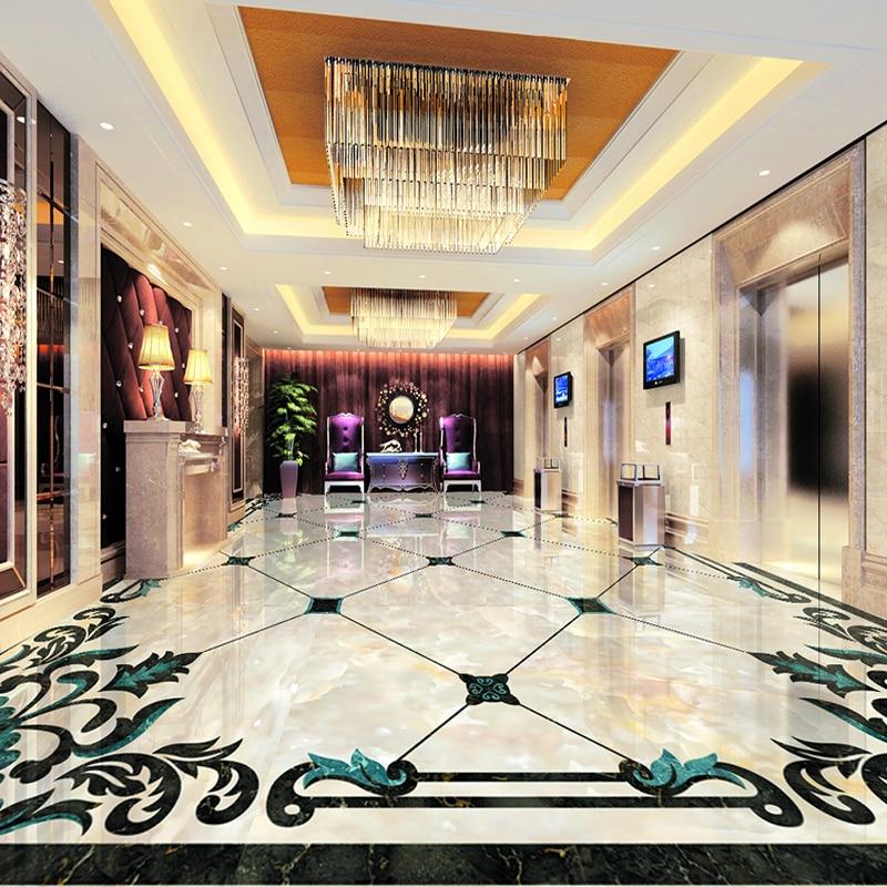 European Style Imitation Marble Pattern Living Room Floor Sticker Mural Wallpaper High Quality Custom 3D Floor Mural De Parede
