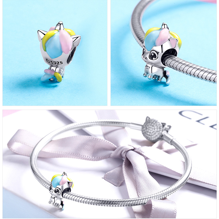 HTB1RJciJpzqK1RjSZFoq6zfcXXa1 BAMOER New Collection 925 Sterling Silver Colorful Enamel Licorne Beads fit Charms Bracelets & Necklaces DIY Jewelry Gift BSC059