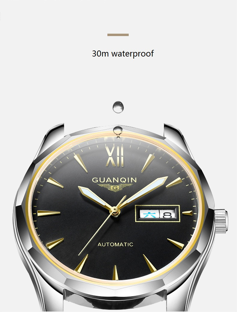 GUANQIN Luminous Men Watch Automatic Mechanical Tungsten Steel Watches Date Calendar Japanese Movement Watch with Leather Strap (10)