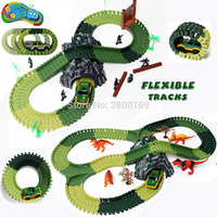 Magic Track Army green Assembly tracks Create A Road with Accessories dinosaurs and soldiers Military Vehicles Playset for Boys