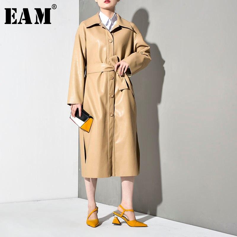 [EAM] 2019 New Autumn Winter Lapel Long Sleeve Khaki Pu Leather Long Bandage Windbreaker Women   Trench   Fashion Tide YG625