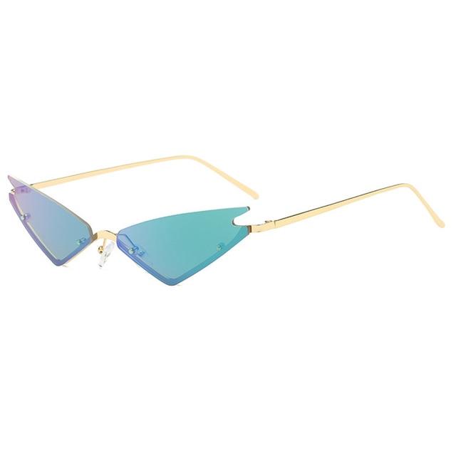 Pequeno Gato óculos de Sol Olho Para As Mulheres Meia Moldura de Espelho Vermelho Triple-Encurralado Óculos Shades Eyewear Feminino Homens UV400