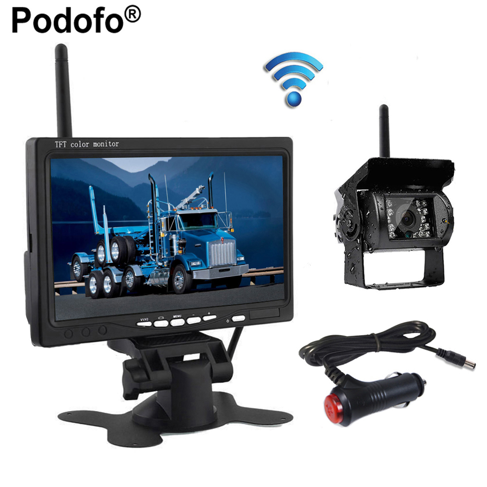 Podofo Wireless 7 HD TFT LCD Vehicle Rear View Monitor Waterproof Backup Camera Night Vision Parking System & Car Charger