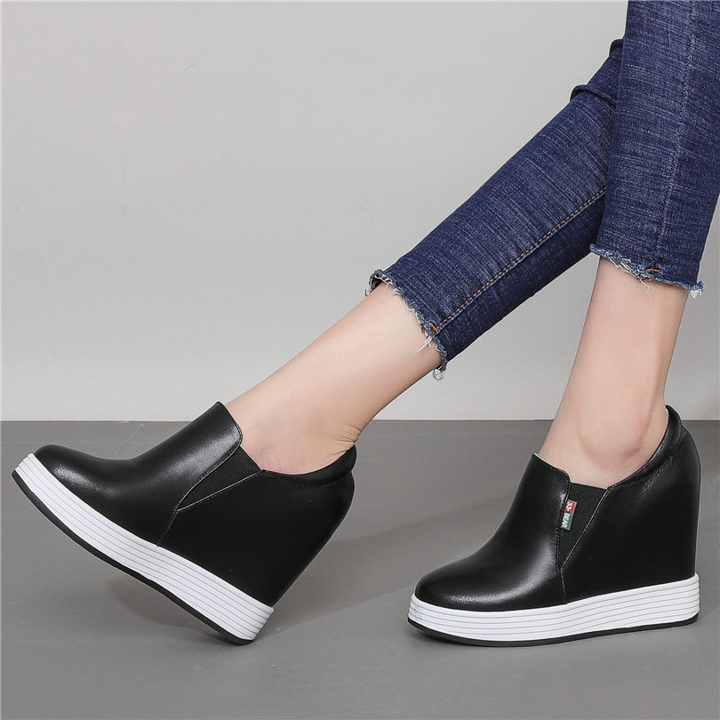 b814d32740b3c NAYIDUYUN Women Leather Wedges Platform Evening Party Pumps Slip On High  Heel Ankle Boots Shallow Punk
