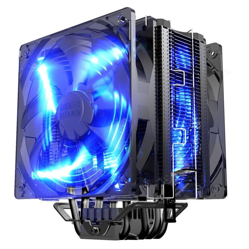 Двойной-вентилятор 12 см с ШИМ 5 тепловые трубки, радиатор Процессор охлаждающий вентилятор охлаждения для Intel 775 1151 115x1366 радиатор для AMD Проце...
