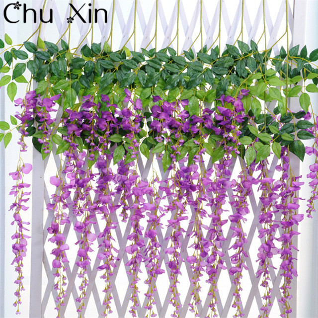 artificial flower wisteria vine artificial plants silk flowers decorative rattan housegardenhotel wedding