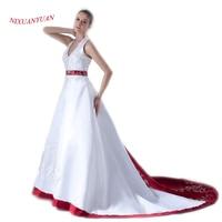 2017 Elegant Burgundy White Satin Embroidery Wedding Dress 2017 Vintage Halter Beaded Vestidos De Novia 2017