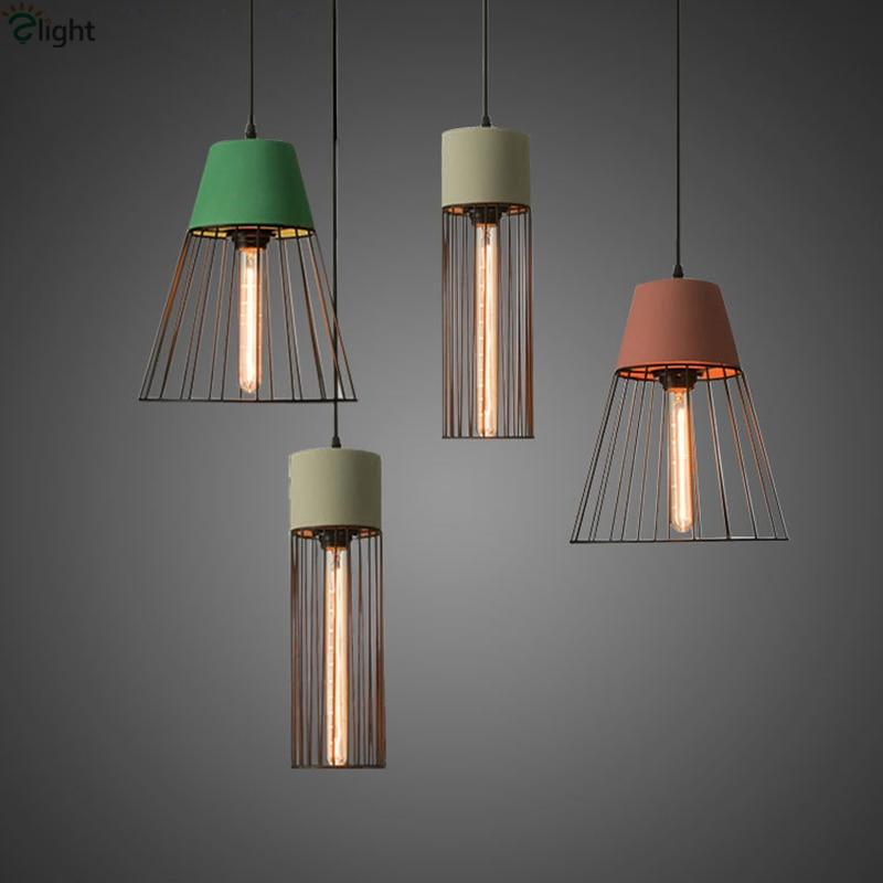 ▻Minimalismo nórdico gris/verde/rojo concreto LED luz colgante ...
