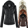 Nuevos 6XL Sombrero Desmontable Falso de Dos Capas Más El Tamaño de Cuero Mujeres de la chaqueta de Cuero Femenina delgada prendas de Vestir Exteriores de Gran Tamaño Ladies Bomber chaqueta