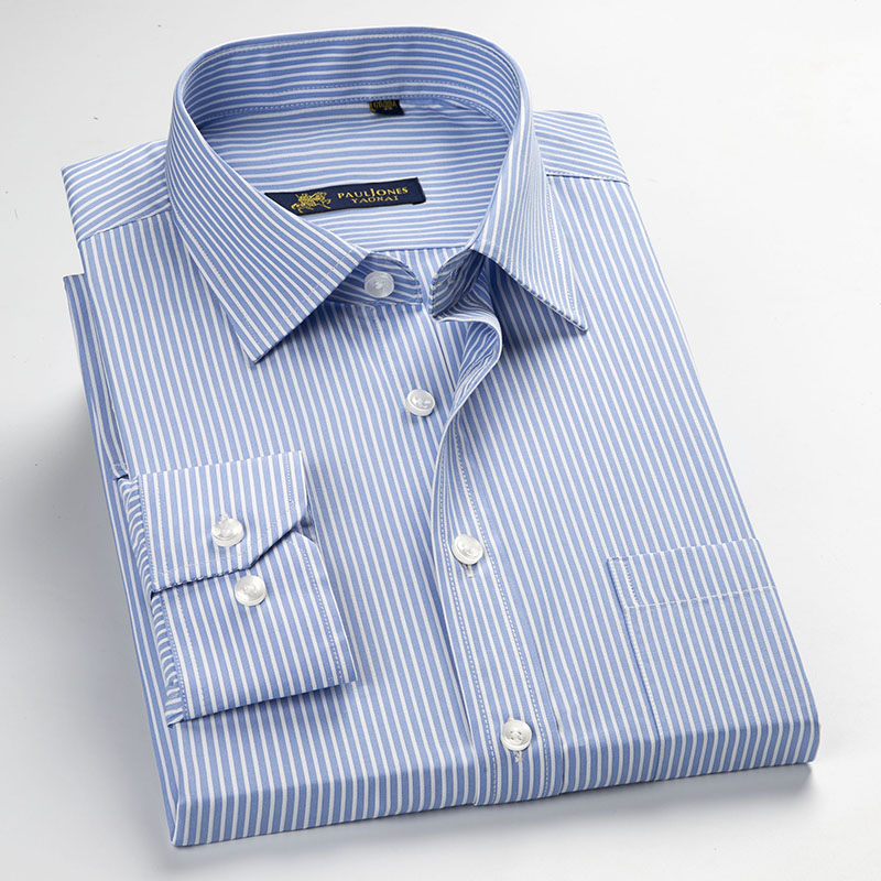 Men's Long Sleeve Blue/white Pin-Stripes Dress Shirt With Left Chest Pocket Regular-fit Formal Business Work Office Tops Shirt