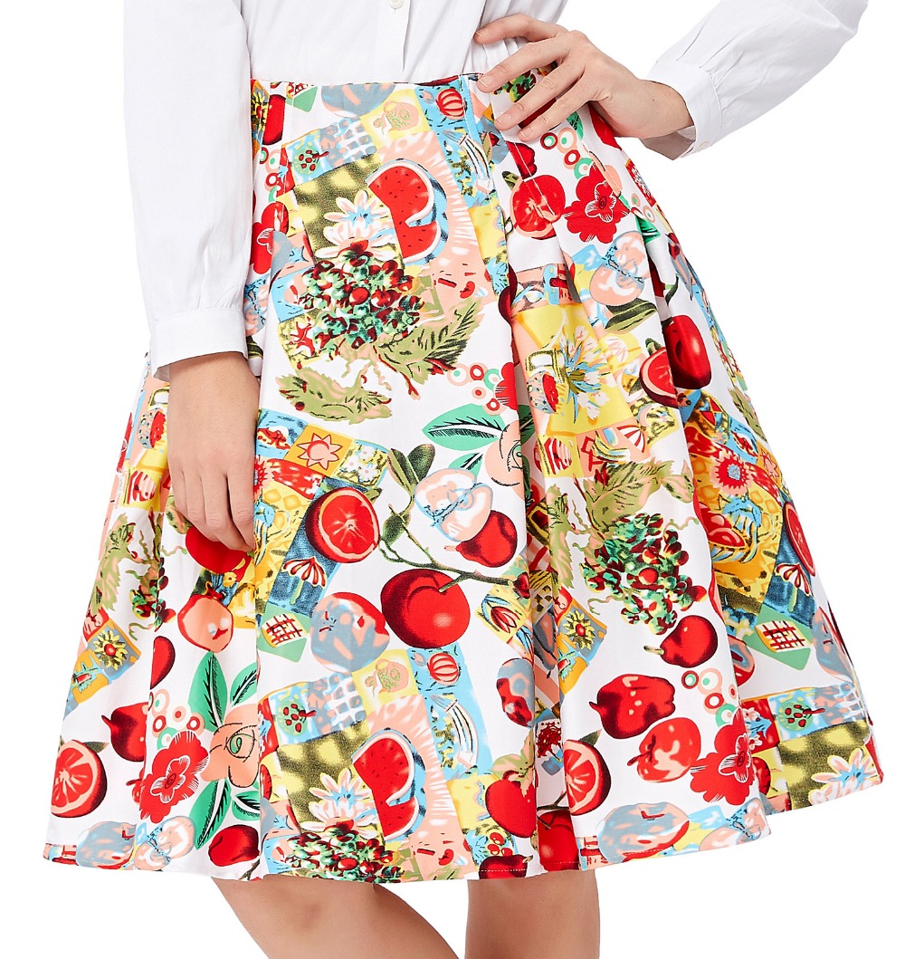 a60d8fdb6 قصيرة مطوي التنانير النسائية الأزهار طباعة faldas زائد حجم 2018 الصيف نمط  الرجعية خمر متزلج عالية الخصر عارضة 50 ثانية تنورة