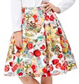 Short Pleated Skirts Womens Floral Print faldas plus size 2017 Summer Style Retro Casual 50s Vintage Skater High Waist Skirt