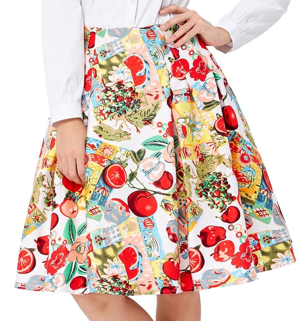 Short Pleated Skirts Womens Floral Print faldas plus size 2017 Summer Style Retro Casual 50s Vintage Skater High Waist Skirt