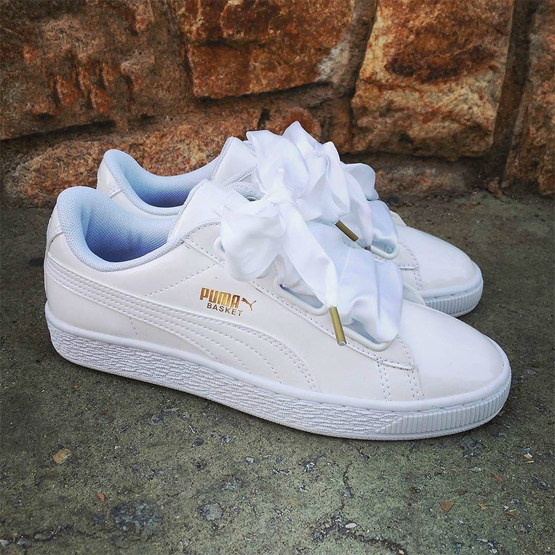 Detail Feedback Questions about New Arrival Original PUMA Basket Heart  Patent Women s Sneakers Suede Satin Skateboarding Shoe White Black Bow  Ribbon Size36 ... 06adc106d1f9