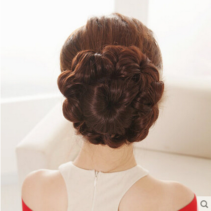 Free Shipping Fluffy Slightly Curled Synthetic Hair Bud Bun Hepburn