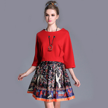 L- 5XL 2017 Autumn Women 2 Piece Clothes Set w/ Necklace Red Crop Tops And Printed Pleated Mini Skirts Suit Plus Size Saia Blusa