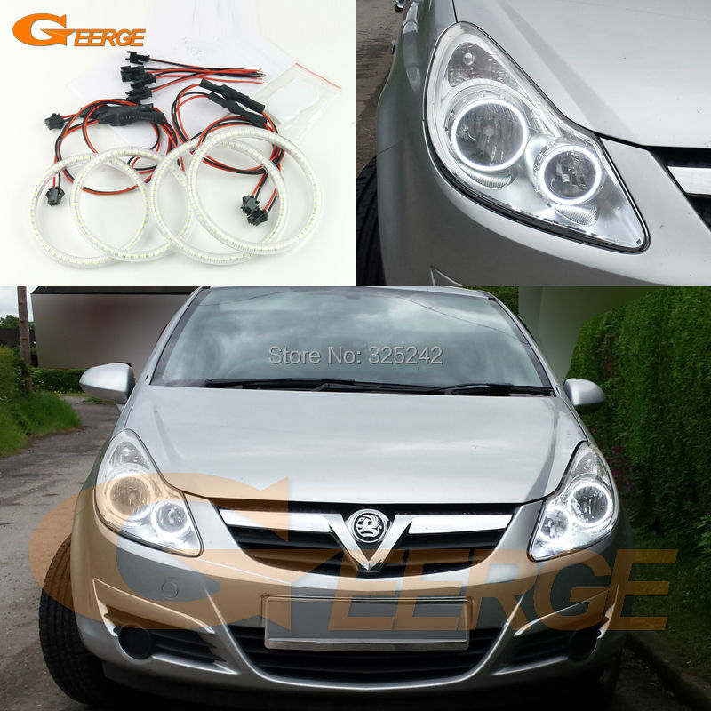 For Opel Corsa D 2006 2007 2008 2009 2010 2011 halogen headlight Excellent Ultra bright smd led Angel Eyes Halo Ring kit