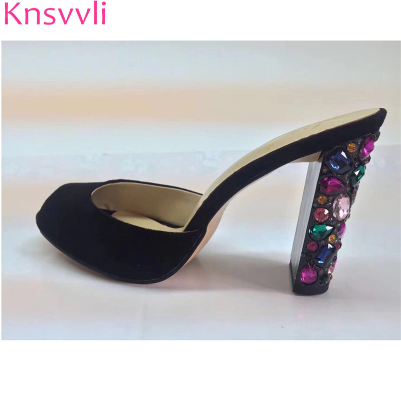 Knsvvli suede crystal studded hoge hakken schoenen vrouwen luxe peep toe boor juwelen chunky hak slippers vrouw party schoenen zomer-in Slippers van Schoenen op  Groep 1
