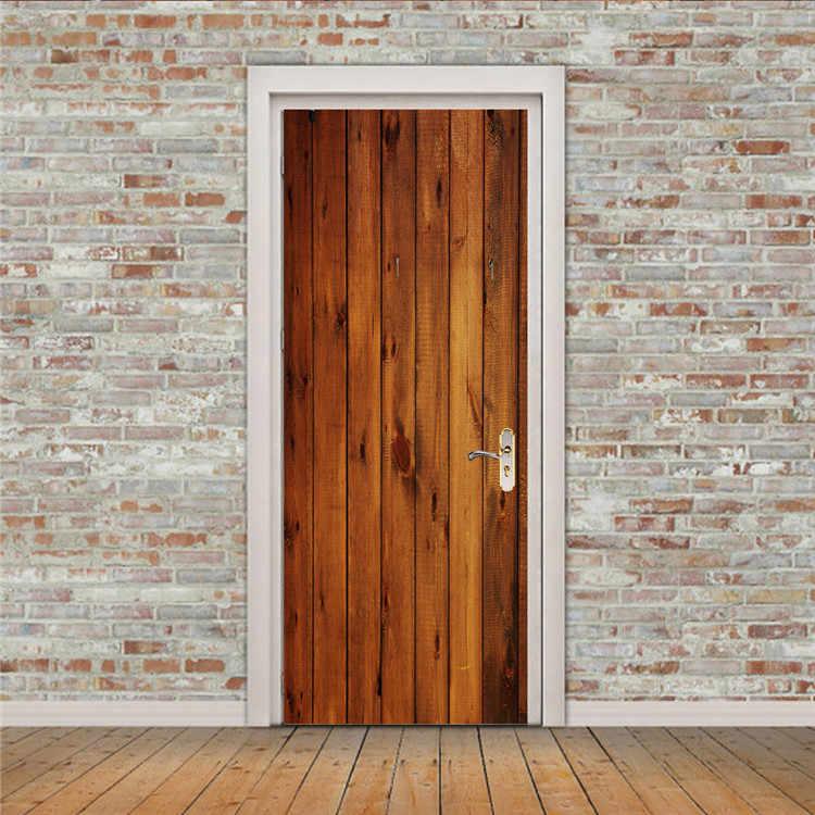 2 pcs/set Creative Wood Door Wall Stickers Bedroom Home Decoration Poster PVC Waterproof Door Stickers Imitation 3D Decal