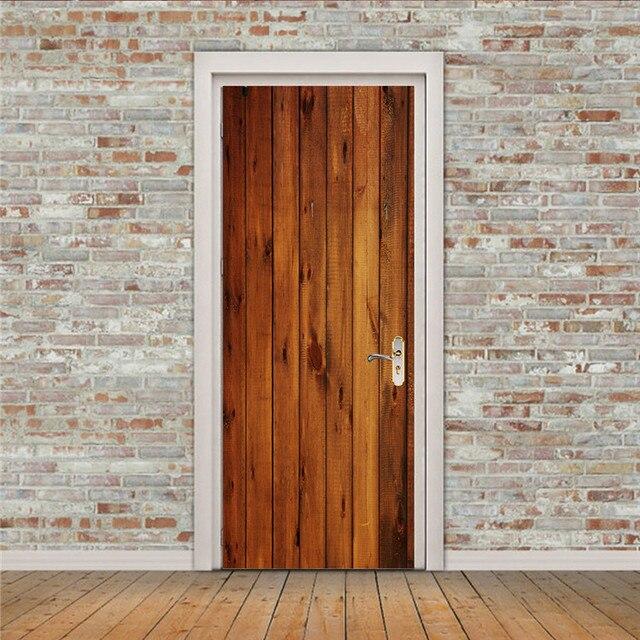 2pcs/set Wood Door Wall Stickers Bedroom Home Decoration Poster PVC Waterproof Door Stickers Imitation 3D Decal