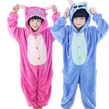 New Year Lilo Stitch font b Children s b font Cartoon Animal pajamas Flannel for Boys