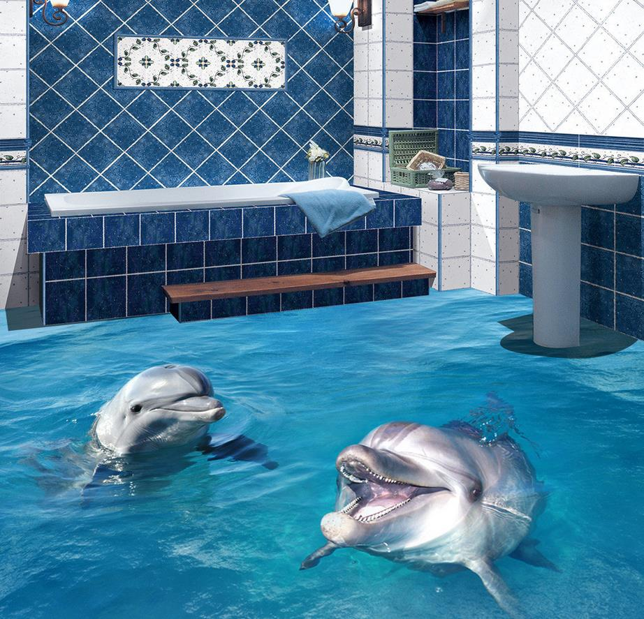 Dolphin Bathroom Tiles: Beach Floor Murals In Wallpapers 3D Dolphins Swimming In
