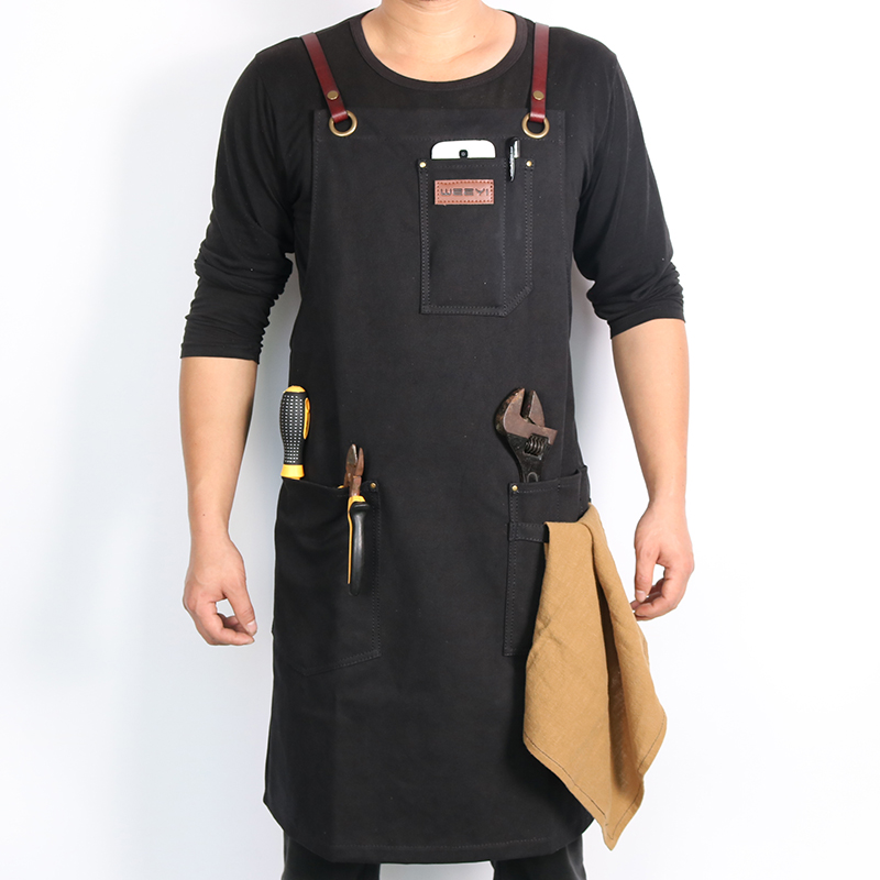 WEEYI Vintage Canvas Work Shop Apron for Artisan Gardener with Cross Back Genuine Leather Strap Towel