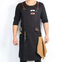 WEEYI Canvas Work Shop Apron Waterdrop Resistant Cross Back Genuine Leather Strap With Towel Loop Fits