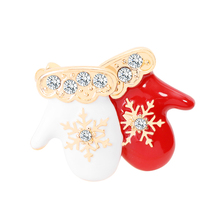 Christmas Theme Brooch Pin Cute Delicate Red White Small Gloves Style Best Gift Accessories For Kids And Friend