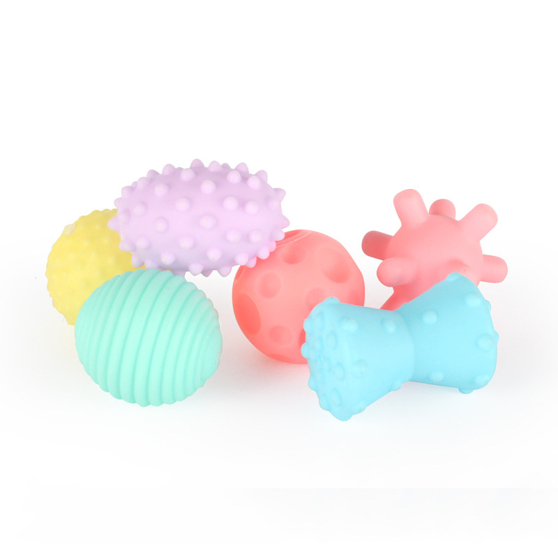 6pcs Textured Multi Ball Set develop babys tactile senses toy Baby touch hand ball toys baby training ball Massage soft ball ...