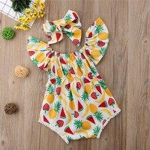 Одежда для новорожденных и маленьких девочек; боди с короткими рукавами с открытыми плечами и принтом ананаса; повязка на голову с бантом; комплект из 2 предметов; детская хлопковая одежда