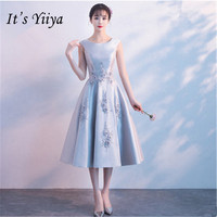 It's YiiYa New O neck Sleeveless Gray Bridesmaid Dresses Elegant Back Lace Up A line Slim Dress B046