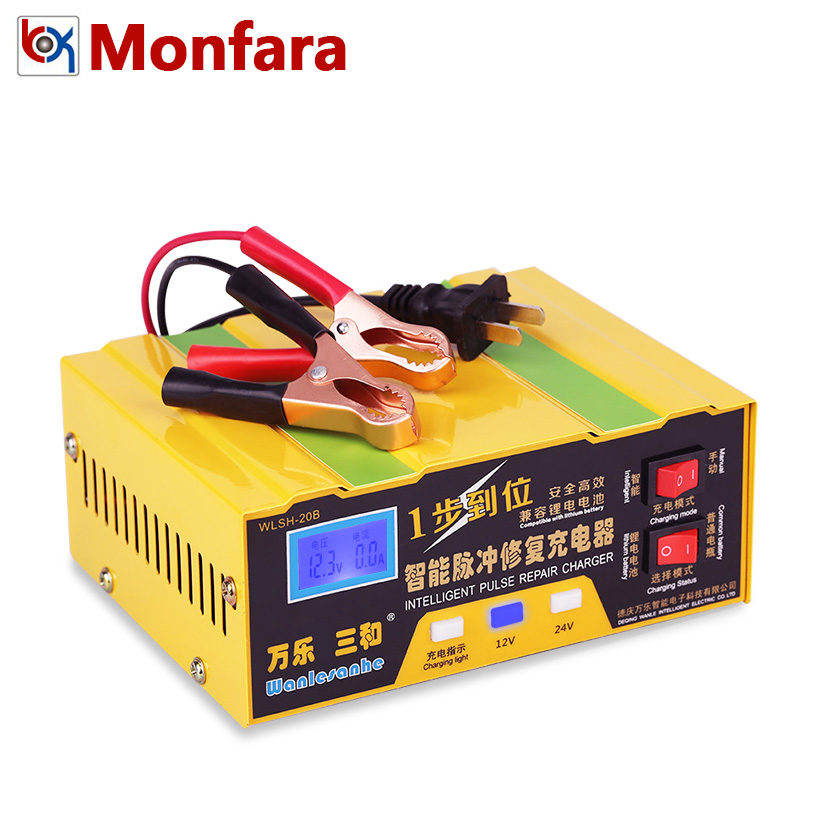 12V 24V Smart Car Motor Battery Charger 12 Volt Li-ion Lithium Batterie Intelligent Power Charge Automatic Charging 8A 10A 100AH