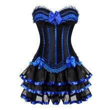 Gotik mavi korseler elbise etek kostümleri vintage çizgili çiçek lace up overbust korse büstiyer kadınlar dans giyim