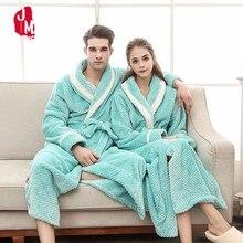 Lovers Thermal Long Flannel Bathrobe Women Men Thick Warm Winter Kimono Bath Robe Coral Fleece Couple Dressing Gown XXXL