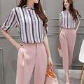 2017 Spring Summer Women's Office Suits Europe Casual Slim Chiffon Women Set Fashion Stand Collar Stripe 2 Piece Set Women