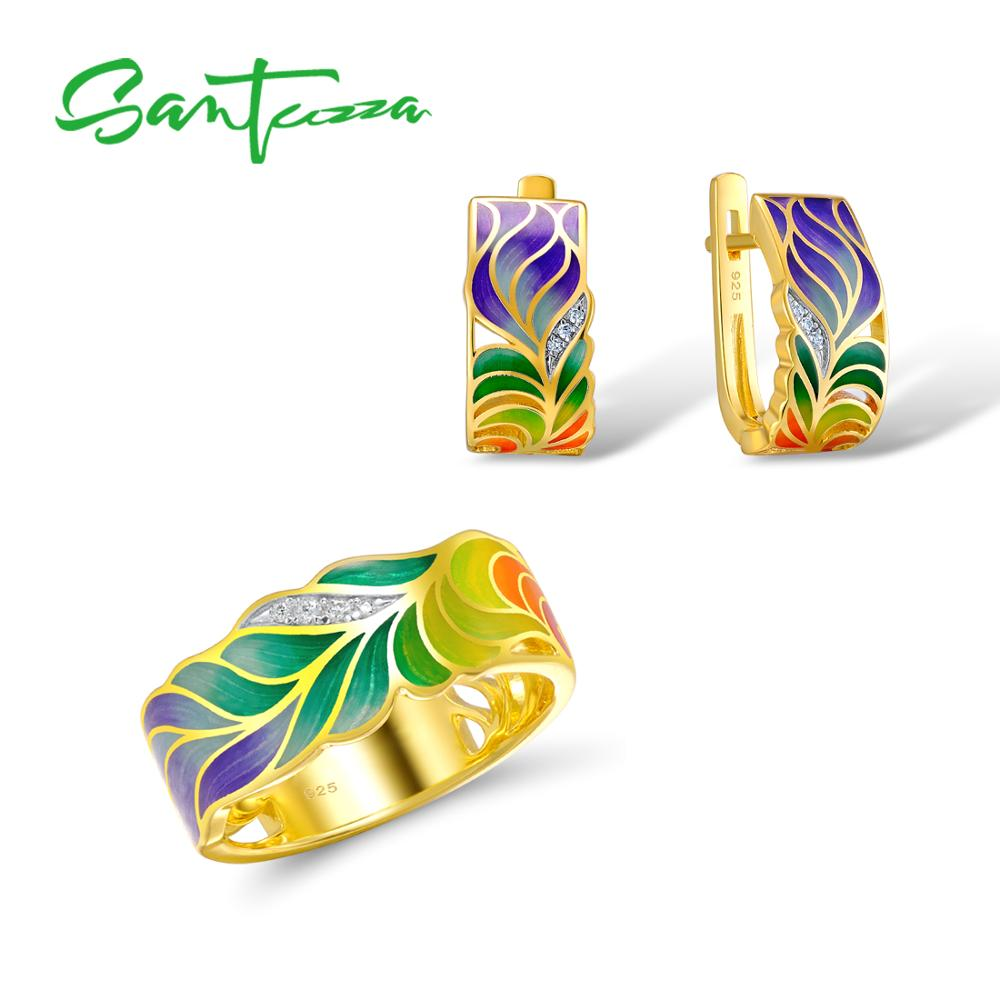 SANTUZZA Jewelry Set For Woman 925 Sterling Silver HANDMADE Colorful Enamel Flower White CZ Ring Earrings Set Fashion Jewelry