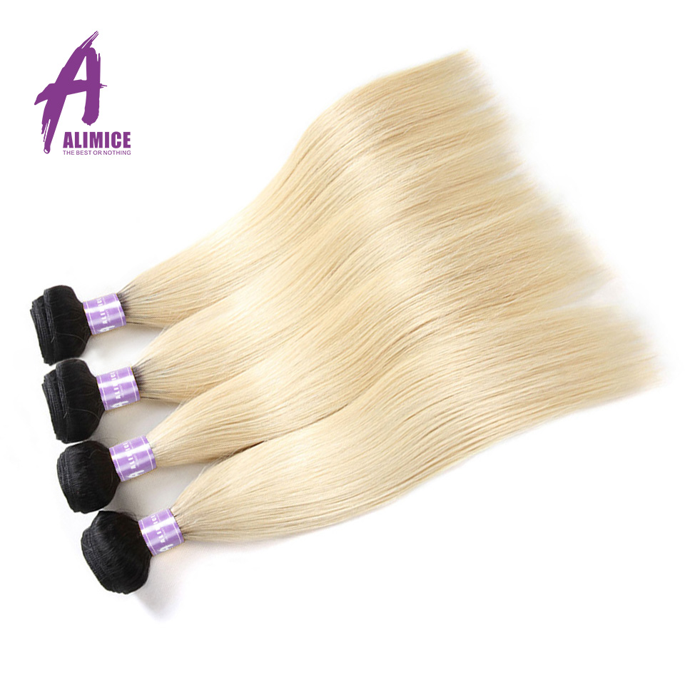 Alimice Ombre Indian Straight Hair Weaves 4 Bundles T1b/613 Ombre Human Hair Bundles Dark Root 100% Remy Human Hair Extensions