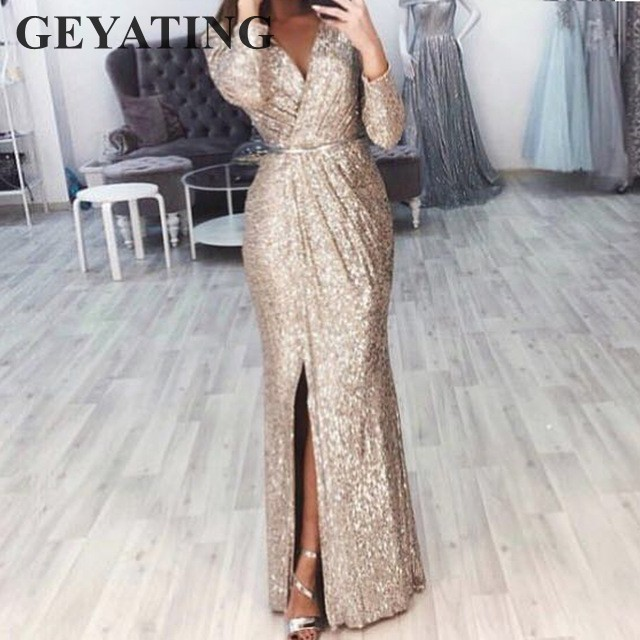 Sexy V Neck Split Long Sleeve Mermaid Evening Dresses 2019 Elegant Party Gowns Glitter Gold Silver Burgundy Black Prom Dress