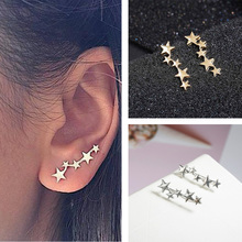 Tiny Cute Stud Earrings Fashion Golden Silver Color Star Design Ear Jewelry Crystal Earrings Gift For Friend Wholesale